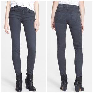 Rag & Bone Skinny Jeans Distressed Charcoal Sz 26